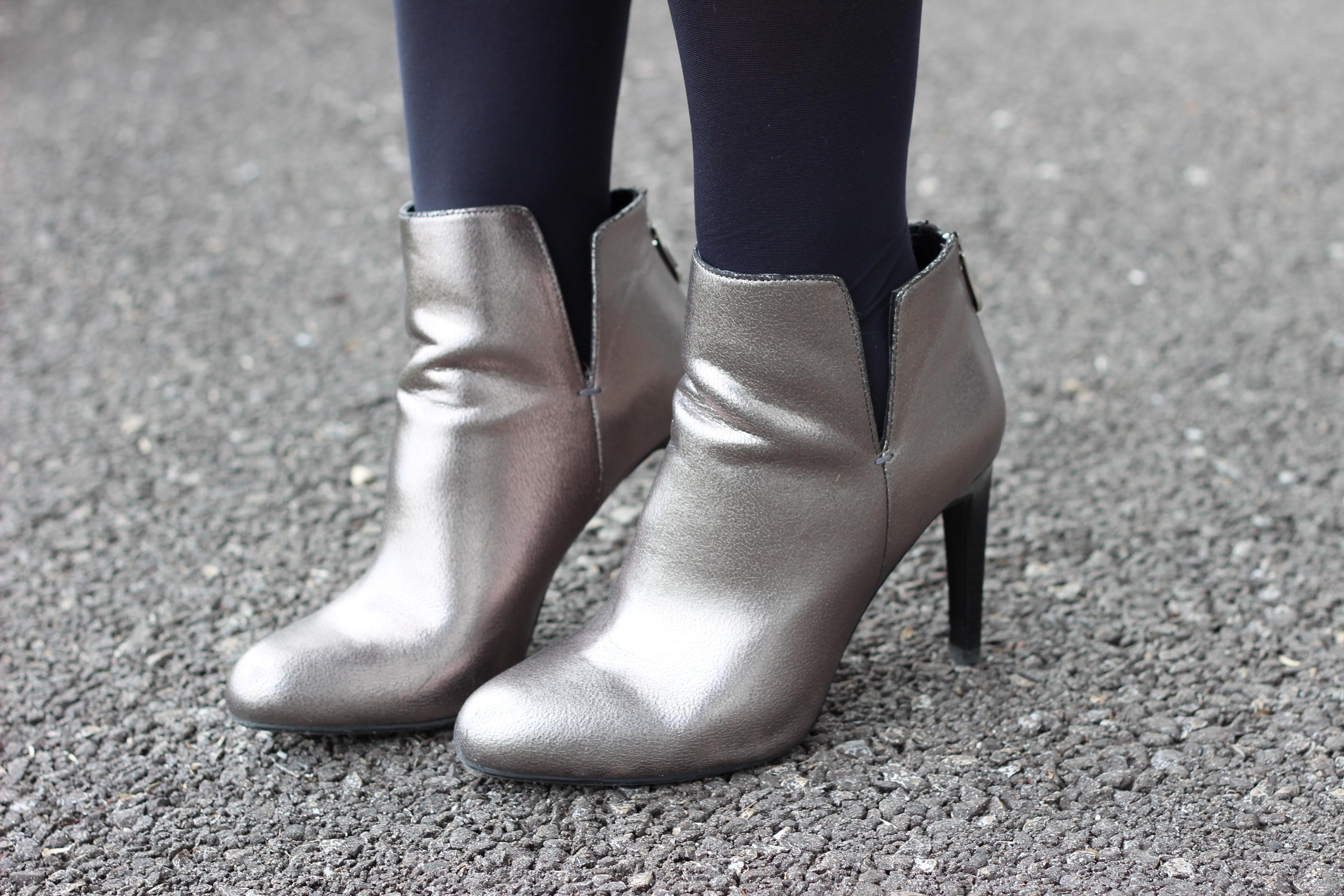 bottines zara argentées